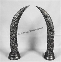 Chinese Dragon Carved Ebony Wood Horns