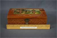 Vintage Carved Cedar Decoupage Jewelry Box