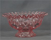 L E Smith Rose Pink Moon and Stars 8in. Bowl