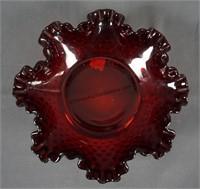 """Fenton Glass Red Hobnail Double Crimp 7 1/2"""" Bowl"""