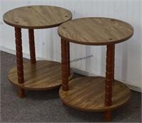 Oak Look Round Side Tables