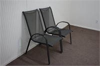 2 Metal and Nylon Mesh Patio Chairs