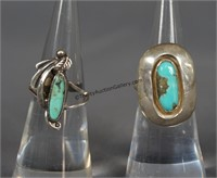2 Southwest Silver and Turquoise Rings