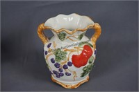 Italian Majolica Fruits 6in. Urn and Pitcher Set