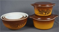 Pyrex Old Orchard Mixing Bowls and Casserole Set