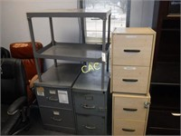 5pieces- 4 Filing Cabinets & 1 Metal Shelf