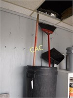 2pc Trash Cans, Broom, Dust Pan, & Garden Hoe