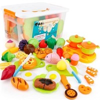 SONi 40Pcs Food Toys Pretend Food Set w/Storage