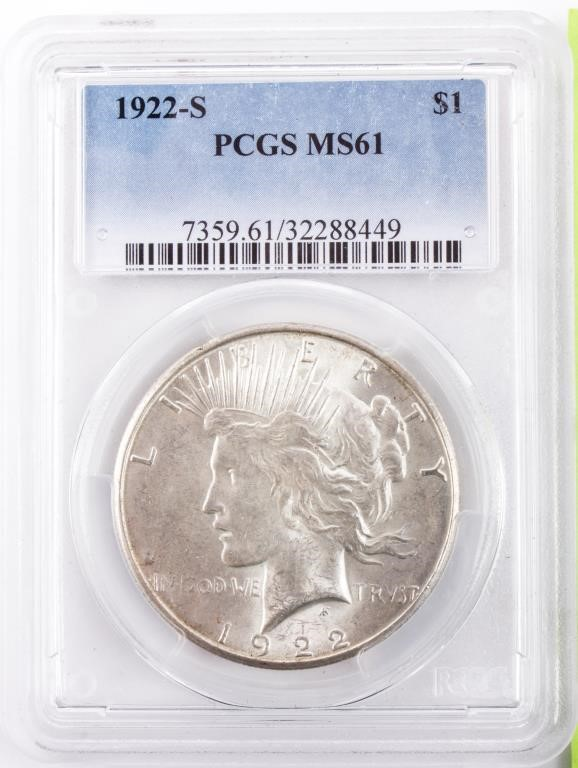 Coin 1922-S Peace Silver Dollar PCGS MS61 | AZFirearms com/Pot of