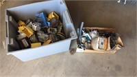 Tote of electrical items, etc