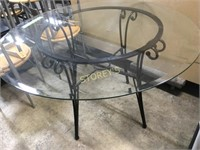 """45"""" Round Glass Top Dining Table"""