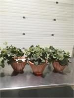 3 Faux Planters