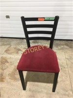 Black Metal Welded Chair w/ Red Cushion