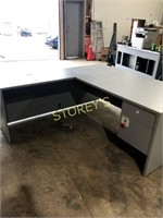 Grey L Shaped Office Desk