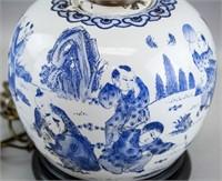 Chinese Late Qing Canton B & W Porcelain Jar Lamp