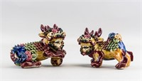 Pair Chinese Pottery Lion Stautes