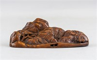 Chinese Old Fine Wood Carved Mountain Brush Rest