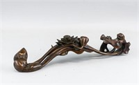 Chinese Fine Wood Carved Ruyi Scepter