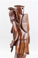 Pair Chinese Wood Carved Fishing Man Statues