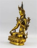 Tibetan Gilt Bronze Cast White Tara Statue