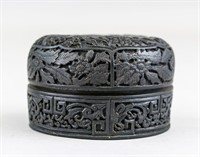 Chinese Wood Carved Round Jewellery Box w/ Lid