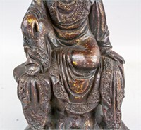Chinese Gilt Bronze Cast Seated Guanyin Statue