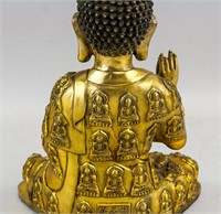 Chinese Gilt Bronze Cast Medicine Buddha Statue