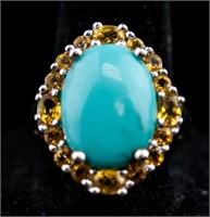 Turquoise & Citrine Ring RV $300
