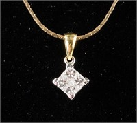 14k Gold and Four 18KT Diamond Necklace CRV $4,000
