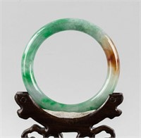 Burma Mixed Green and Brown Tone Jadeite Bangle
