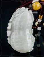 Burma Russet White Jadeite Carved Pendant