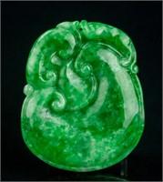 Burma Green Jadeite Carved Ruyi Pendant