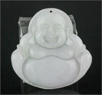 Burma White Jadeite Carved Happy Buddha Pendant