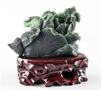 Chinese Hetian Green Jade Carved Cabbage w/ Stand