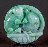 Burma Green Jadeite Carved Lucky Basket Pendant