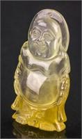 Burma Icy Yellow Jadeite Happy Buddha Pendant