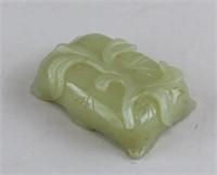 Chinese Hetian White Jade Brush Rest & Water Pot