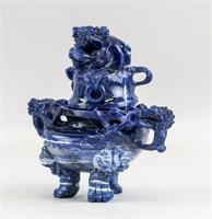 Chinese Lapis Lazul Carved Dragon Censer