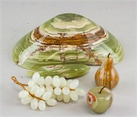 Chinese Green Hardstone Carved Fruit Decoration