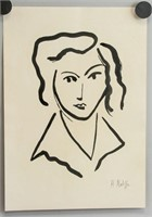 French Fauvist Ink Portrait Signed H. Matisse