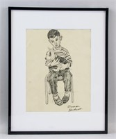 US Regionalist Pencil Signed Norman Rockwell