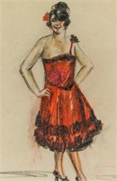 French Impressionist Colored Pencil Signed L Rodo