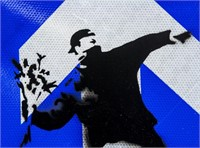 British Pop Art Reflective Sign Signed Banksy