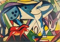 German Cubist Acrylic on Panel Signed Franz Marc