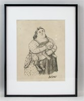 Colombian Modern Pencil on Paper Signed Botero