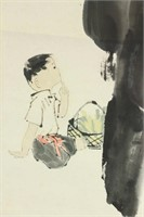 Zhou Sicong 1939-1996 Chinese Watercolor Scroll