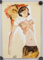 Austrian Expressionist Mixed Signed Egon Schiele