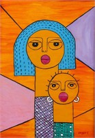 Kenyan 20th Century Oil on Canvas Signed Ongere