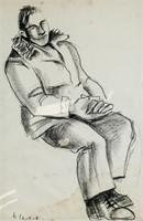 Dutch Modernist Charcoal on Paper Hendrikus Chabot