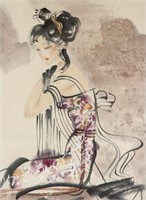 Xue Lin 20th Century Chinese Watercolour Scroll